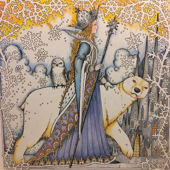 My Snow Princess 🎨Tomislav Tomić 🖍Zemlja Snova.  #adultcoloringbook #adultcolouringbook #adultcoloring #zestit #zemljasnova #tomislavtomić #holbeinartistscoloredpencil #prismacolor #polychromos #shitilovetocolor