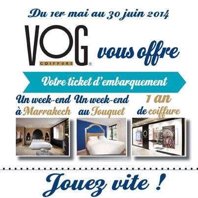 Du 1er mai au 30 juin 2014 - Jeu concours Invitation au voyage sur la page Facebook de VOG COIFFURE :  http://on.fb.me/Q5holH