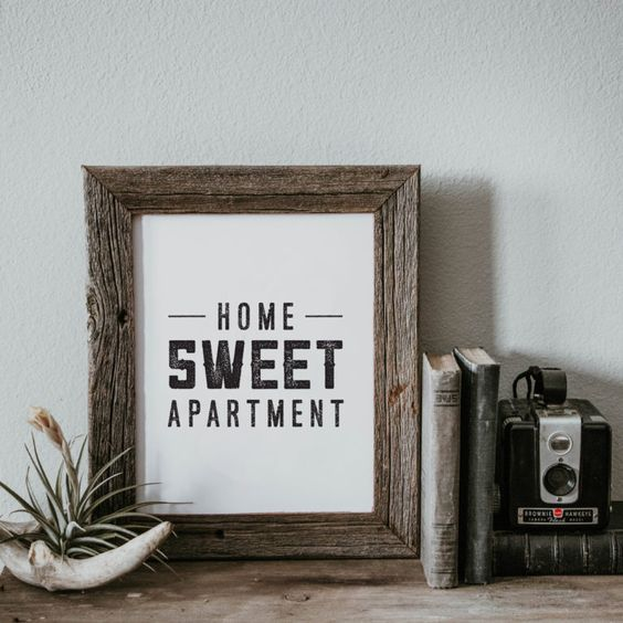 Apartment Ideas: Look at your walls like a blank canvas. When you first move in, all of the blank space may be intimidating. Fear not, there are so many ways to fill it! This Home Sweet Apartment wall art print is minimal and striking. With three different sizes available, it can be hung in a frame or placed on a small shelf for a pop of personality.