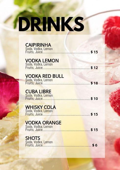 Cocktail Card Drinks Party Bar Club Menu Ad Cocktail Menu Drink Menu Design Party Drinks