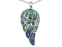 """Abalone Shell Sterling Silver """"wing"""" Pendant With Chain"""