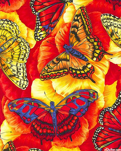 Butterfly carnival - bright winged colours - scarlet:
