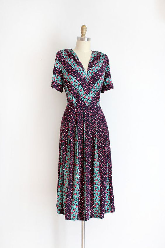 vintage 1940s dress // 40s floral chevron rayon dress by TrunkofDresses