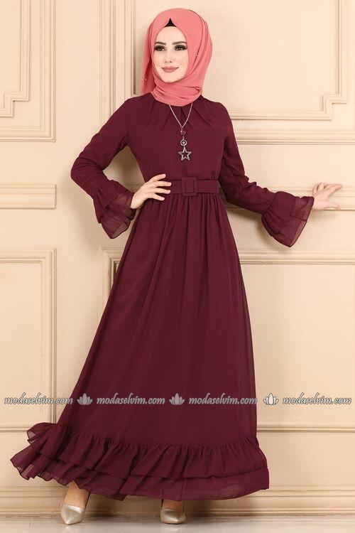 Modaselvim Elbise Firfirli Sifon Elbise 2062ab368 Bordo Colorful Dresses Fashion Islamic Dress