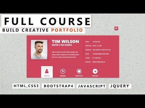 How To Make Creative Portfolio Design Using Html Css Full Course Youtube In 2020 Creative Portfolio Portfolio Website Design Portfolio Design