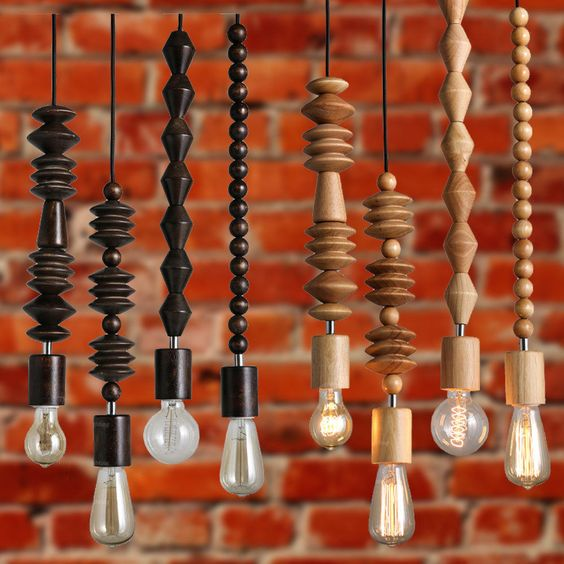 MODERN DIY WOODEN BEADS CEILING Hanging Lamp LAMP LIGHT PENDANT LIGHTING DECOR