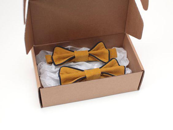 Mustard yellow matching father and son bow tie set by ZanziBach