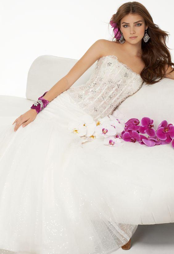 Illusion Corset Sequin Skirt Wedding Gown Dress by Camille La Vie
