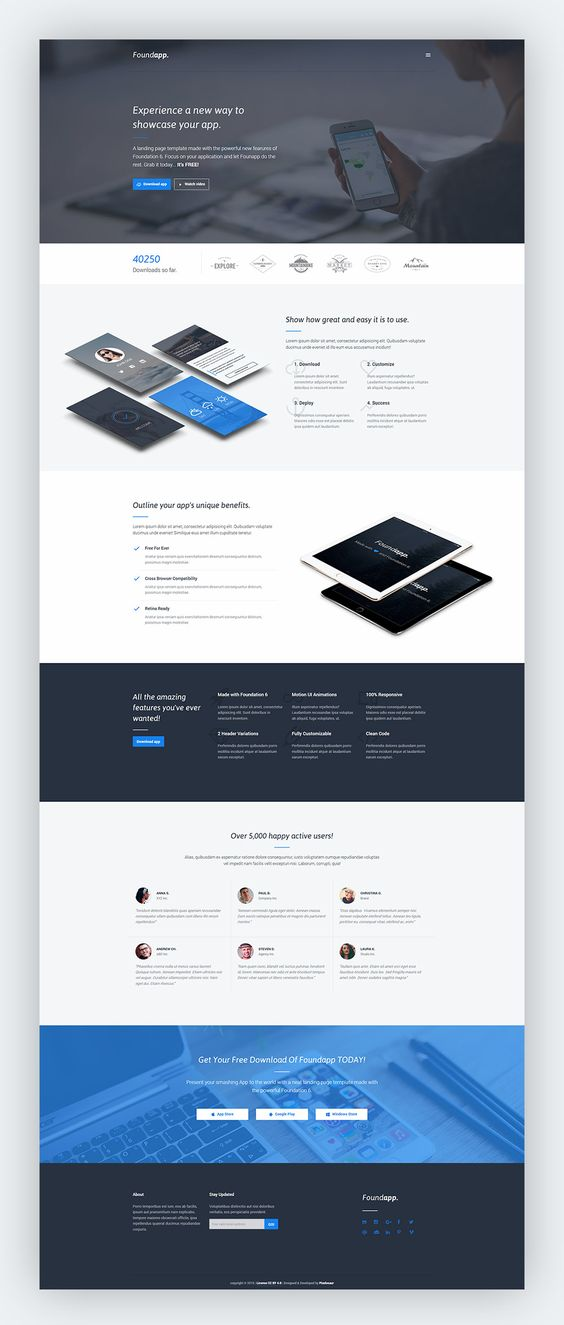 Free Mobile App Landing Page By GraphicFuel