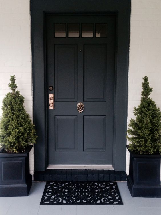 Front door painted in farrow ball down pipe porch - Farrow and ball exterior paint ideas ...