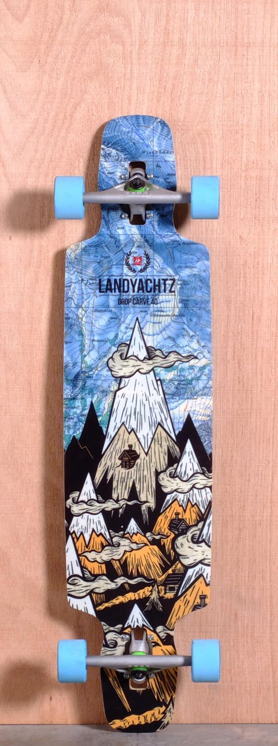 """The Landyachtz Drop Carve Longboard Deck is designed for Freeride, Carving and Cruising. Ships fully assembled and ready to skate! Function: Freeride, Carving, Cruising Features: Variable Concave, Drop Through, Upturned Nose and Tail, Wheel Cutouts Material: Bamboo, Vertically Laminated Bamboo Core, Fiberglass Top and Bottom Sheet Length: 40"""" Width: 9.3"""" Wheelbase: 27.4"""" Thickness: 7/16"""" Hole Pattern: Old School Grip: Black"""