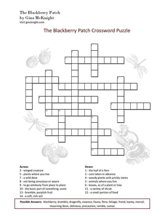 The Blackberry Patch Crossword Puzzle!   The Blackberry Patch   Pinterest  sc 1 st  Pinterest & The Blackberry Patch Crossword Puzzle!   The Blackberry Patch ... 25forcollege.com