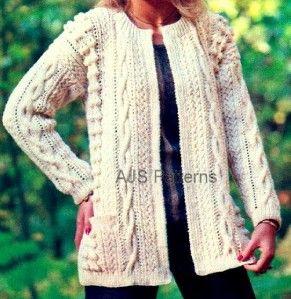 Knitting pattern ~ lovely design of ladies edge-to-edge aran jacket b580 Co...