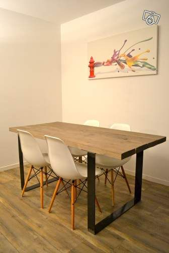 table de salle manger m tal et bois ameublement. Black Bedroom Furniture Sets. Home Design Ideas