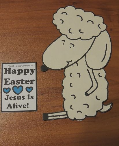 Easter sheep jesus is alive cutout craft easter crafts for Jesus is alive craft ideas