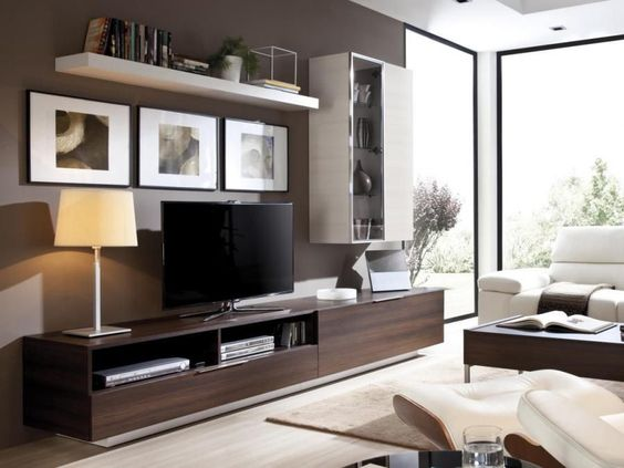 Rimobel Modern Wall Storage System TV unit and Glass Display Cabinet - Contemporary wall storage system with wall mounted cabinet, low sideboard, tv unit in 7 colours