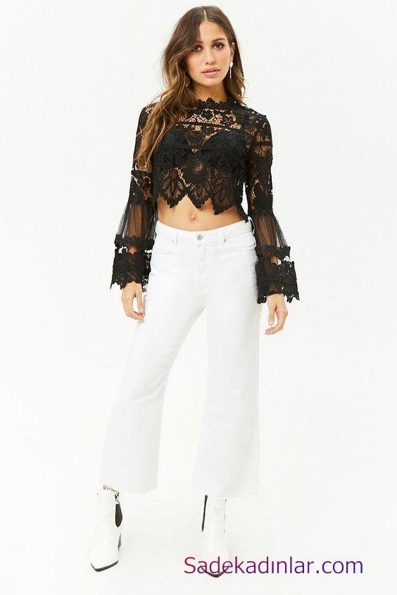 Siyah Gomlek Kombinleri Bayan Beyaz Bol Paca Pantolon Siyah Uzun Kol Dantel Gomlek Beyaz Topuklu Ayakkabi Moda Stilleri Moda Moda Trendleri