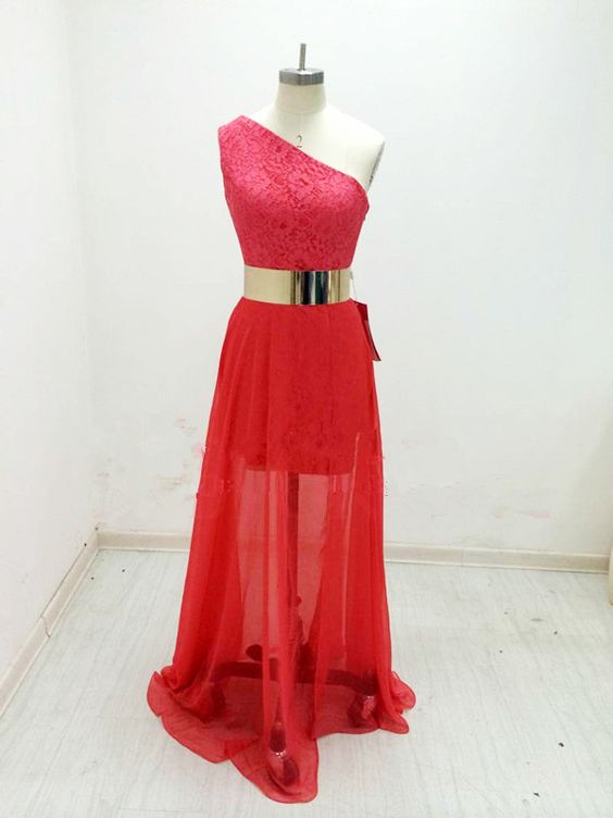 Watermelon One Shoulder Chiffon Prom Dresses With Belt,Dress For Prom