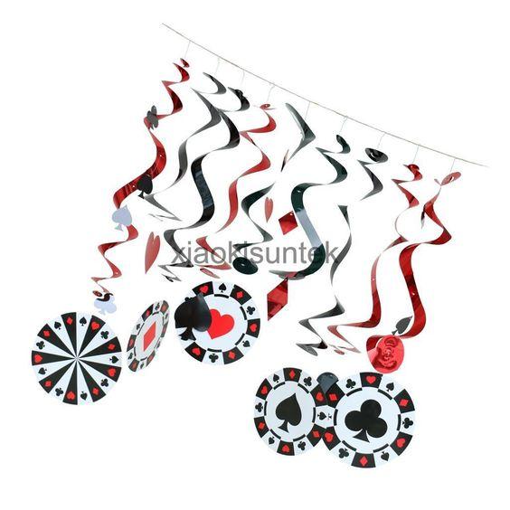 9Pcs Assorted Casino Party Playing Card Poker Hanging Cutout Swirls Decor