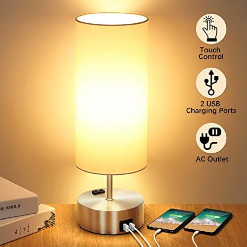 Buy 3 Way Touch Control Table Lamp 2 Fast Charging Usb Ports Power
