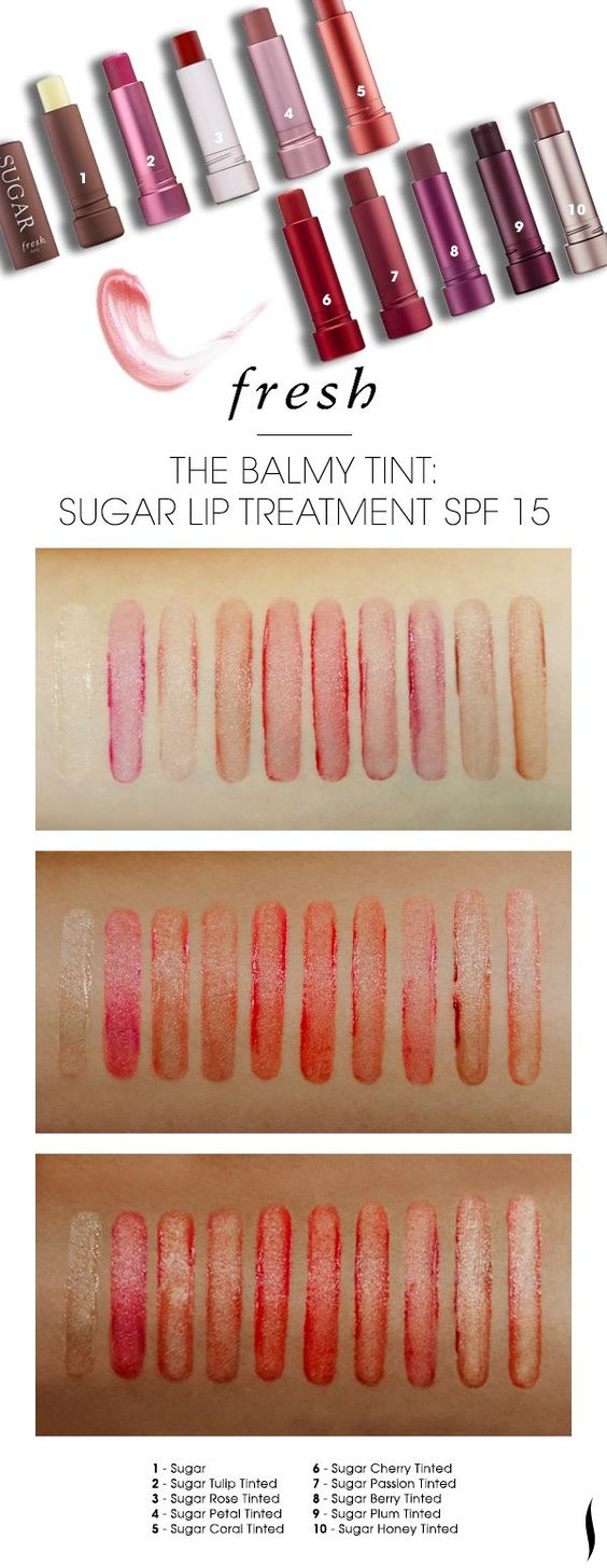 swatches of the shade range of Fresh Sugar Lip Treatment on various skintones. Which caught your eye?: