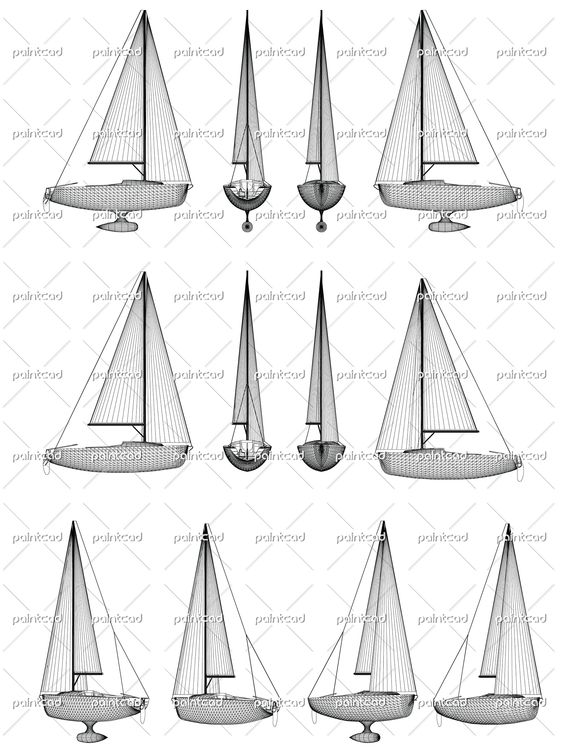 Wireframe design of motor boat with keel and sails. Side, front, back and axonometric view. Vector Illustration of isolated objects over blue background.