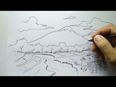 Cara Menggambar Pemandangan Dengan Sangat Mudah Youtube Pemandangan Gambar Sketsa