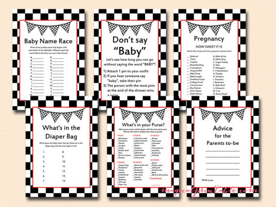 racing baby shower games printable racing car baby shower game pack