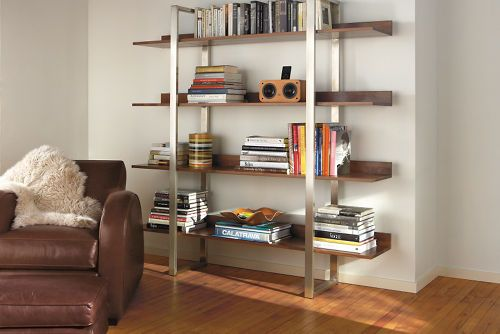 Love this bookshelf so much. Though we'd get it with natural steel instead of stainless.