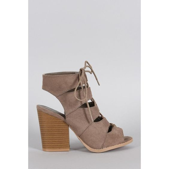 Qupid Suede Peep Toe Corset Lace Up Gladiator Chunky Heel ($52 ...