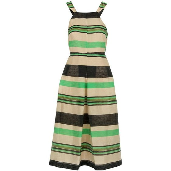 Whistles Miriam Stripe Dress, Multi (16.985 RUB) ❤ liked on Polyvore featuring dresses, fitted maxi dress, linen maxi dress, sleeveless maxi dress, striped dress and cutout maxi dress