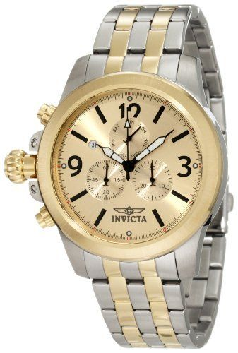 Invicta Men's 10057 Specialty Lefty Chronograph Gold Dial Two Tone Stainless Steel Watch Invicta. $89.95. Chronograph functions with 60 second, 30 minute and day of the week subdials; day and date function. Gold dial with black hands, hour markers and arabic numerals; 18k gold ion-plated stainless steel bezel; luminous; lefty. Water-resistant to 100 m (330 feet). Swiss quartz movement. Flame-fusion crystal; brushed and polished two tone stainless steel case an...