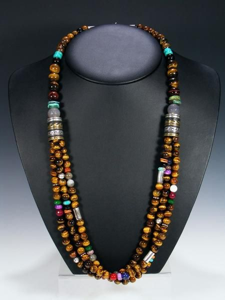 Tiger Eye And Turquoise Multi Strand 30 Beaded Necklace By