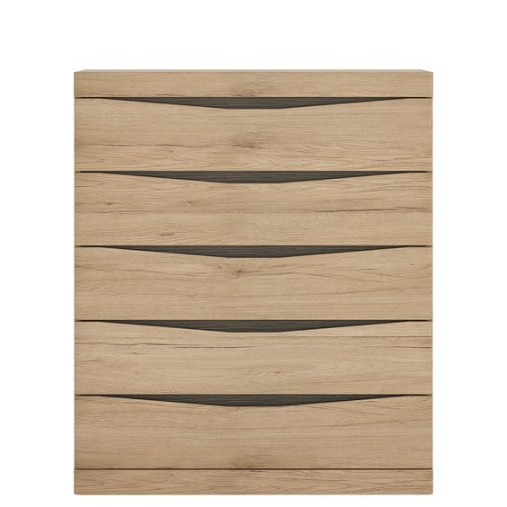 Kensington 5 Drawer Chest in Oak has laminated board that is resistant to damage…