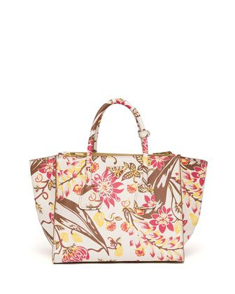 prada wallet in chain - Floral-Print Saffiano Large Twin Pocket Tote Bag, White Multi by ...