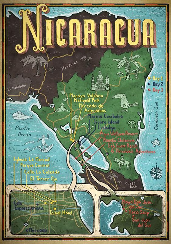 Heres a map of Nicaragua for Hemispheres Magazine Thanks Tracy – Nicaragua Tourist Attractions Map