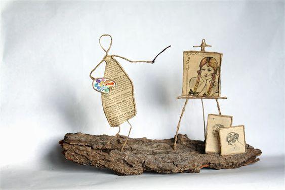 Thème Arts et spectacle : artiste-peintre en découpe de papier collée sous du kraft armé - création Epistyle