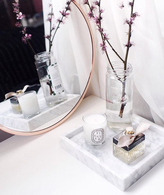 """""""Pretty in pink with our @bloomingville_interiors copper mirror and the last of these beautiful blossoms Discover our marble + copper edit online just…"""""""