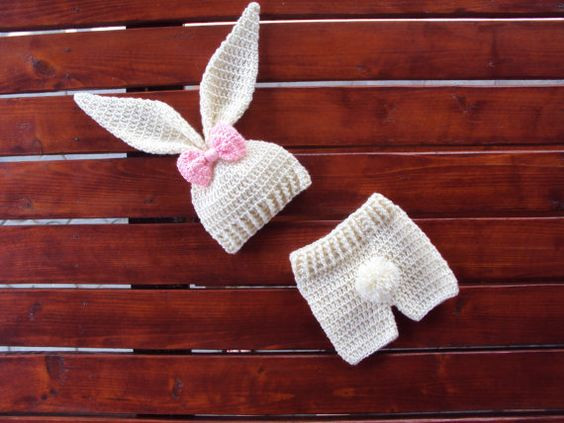 BABY BUNNY COSTUME Bunny Crochet Beanie por CROCHETandKNITworld