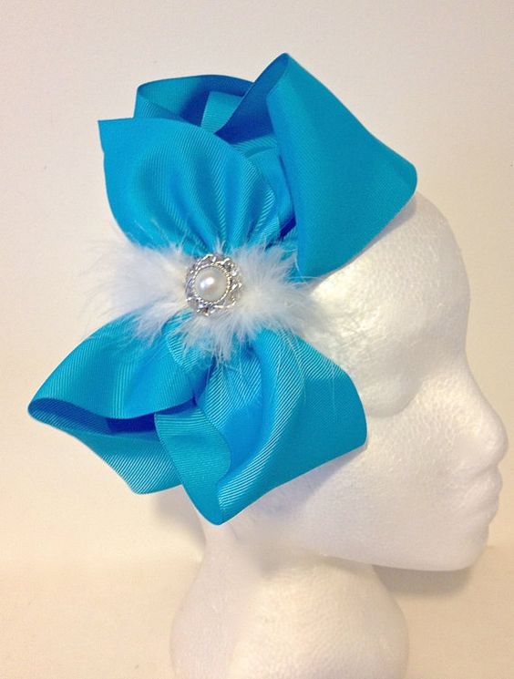 Back to School  Frozen Blue Hair Bow Pearl & White Marabou feather Headband. Handmade  by FancyGirlBoutiqueNYC, $14.99