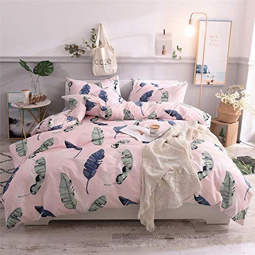 Cenarious Green Leaves Pink American Style Scandinavian Duvet Cover Set Cotton Flat Sheet Or Fitte Full Bedding Sets Duvet Cover Sets Scandinavian Duvet Covers