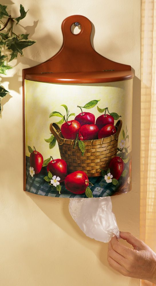 Apple kitchen decor plastic grocery bag wood holder for Apple decoration ideas