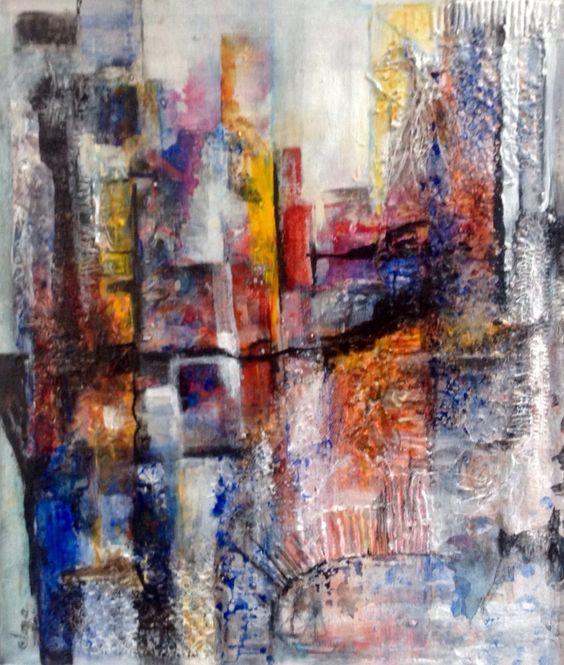 S'morgens in een stad, schilderij van Ilona de Graaf   Abstract   Modern   Kunst
