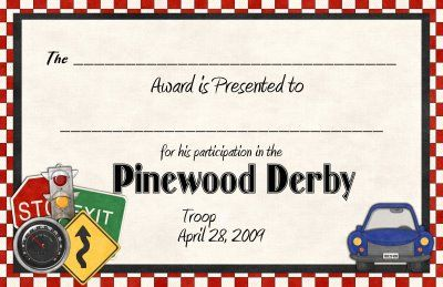 Award Certificate For Pinewood Derby