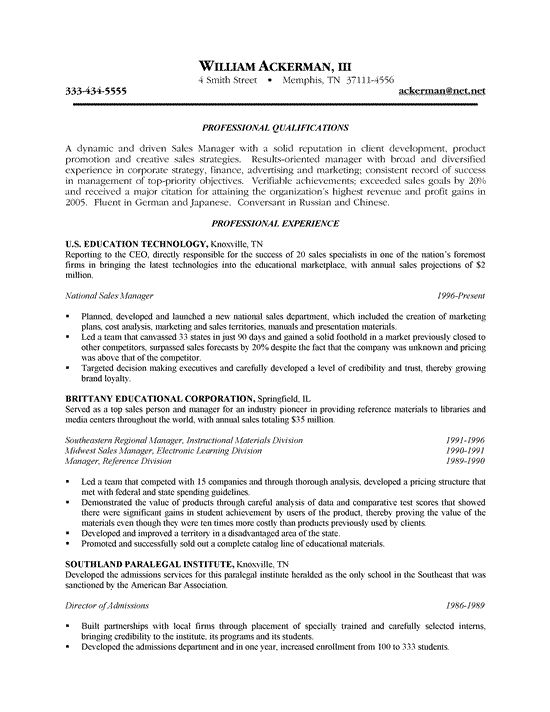Insurance Sales Representative Resume - http\/\/wwwresumecareer - national sales manager resume
