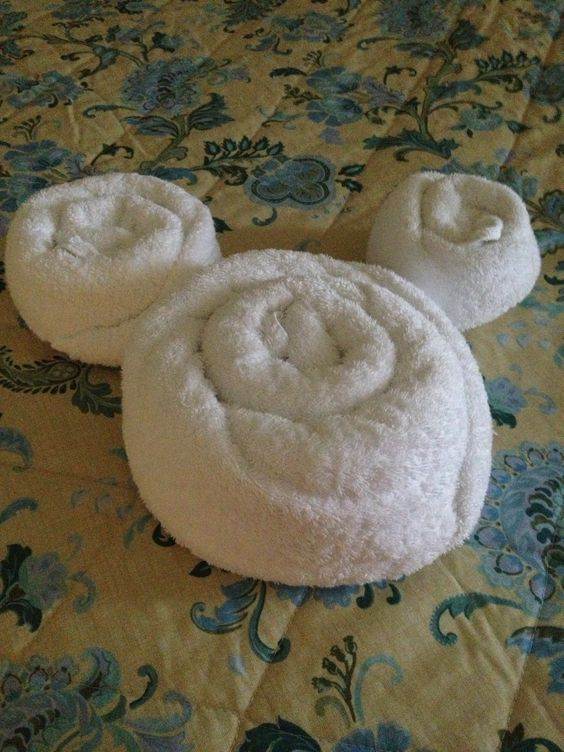 Disney Folded Towel Shaped As Mickey Mouse Cute Disney