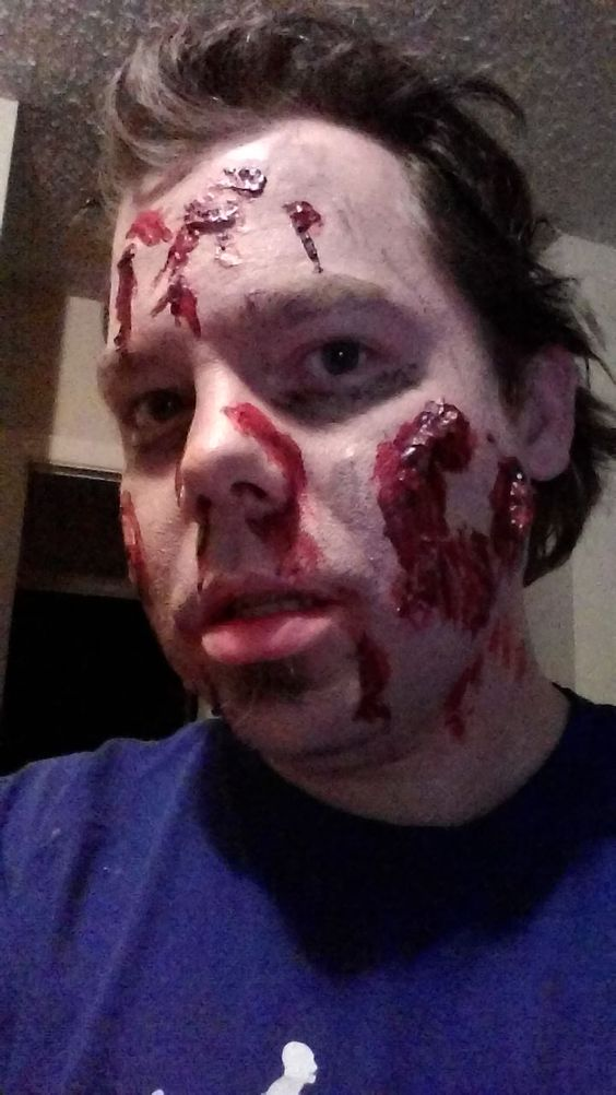 This is also my first zombie make-up, from the other side. Tried to have a bite mark, to show how I was infected.