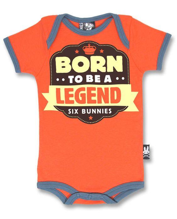 BABY ROMPER RETRO ROCKABILLY SIX BUNNIES BOYS GIRLS TATTOO BORN TO BE A LEGEND