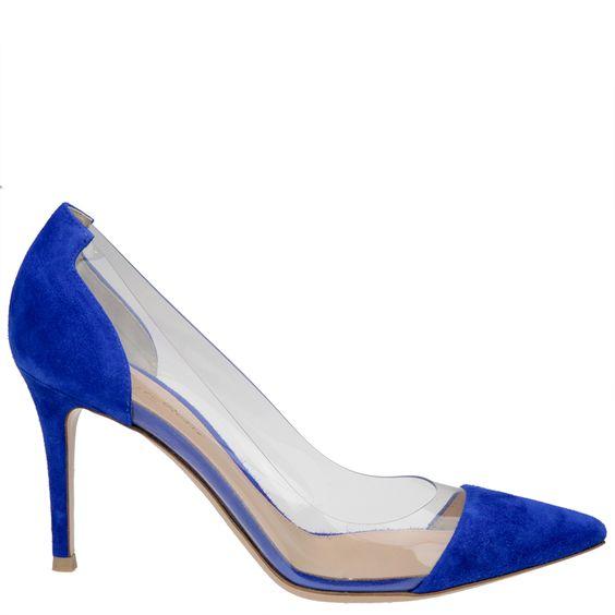 Gianvito Rossi, blue suede plexi pumps, stiletto, 9cm