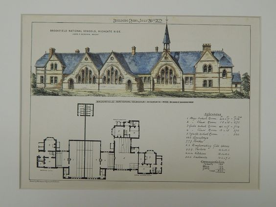 Brookfield National Schools, Highgate Rise, London, UK, 1872, Original Plan. John P. Seddon.